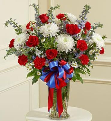 Red, White and Blue Vase Arrangement