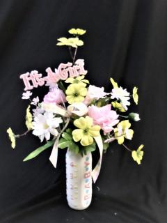 Baby Girl Bottle-Keepsake Flowers