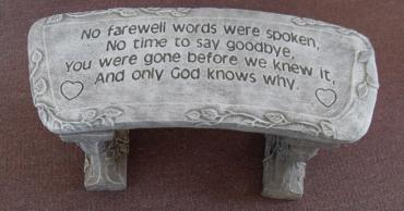 Weathered Cement Memorial Bench 9-No farewell words