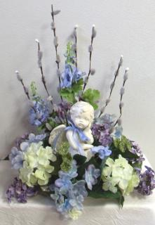 AF Cherub arrangement with Pussywillow Blossoms