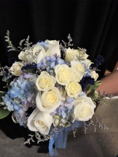 AF Blue Hydrangea And White Roses