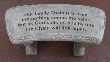 Weathered Cement Memorial Bench 7-Our family chain