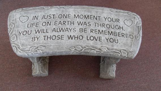 Weathered Cement Memorial Bench 6-In just one moment