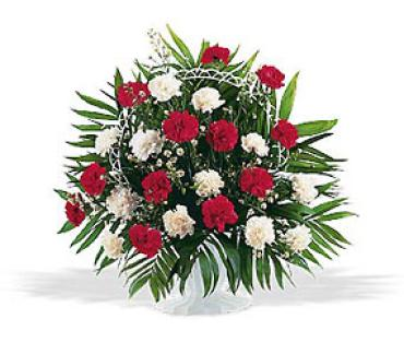 AF Red and White Carnation Basket