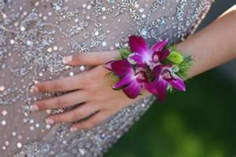 AF Orchid and Button Mum Wrist Corsage