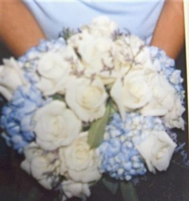 Blue Hydrangea with White Roses