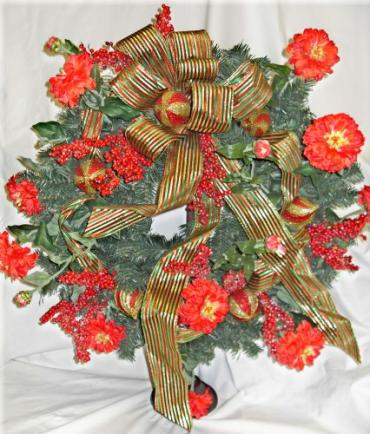Red Zinnia Wreath