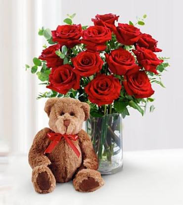 "Arnold Florist ""Red Rose Bouquet with Bear\"""