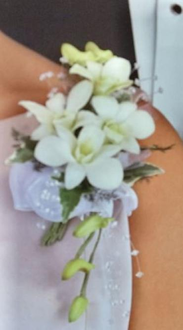 Dendrobium Orchid Corsage with Pearl Sprays