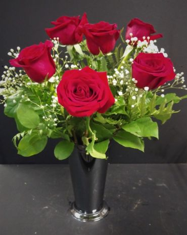 AF Half Dozen Roses With Black Container