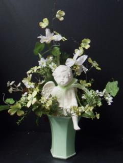AF Mint Green Cherub Arrangement