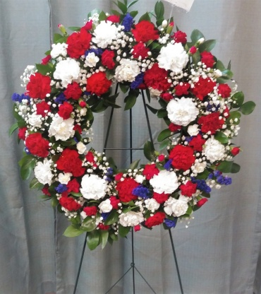 AF Red, White and Blue Wreath-Fresh Flowers