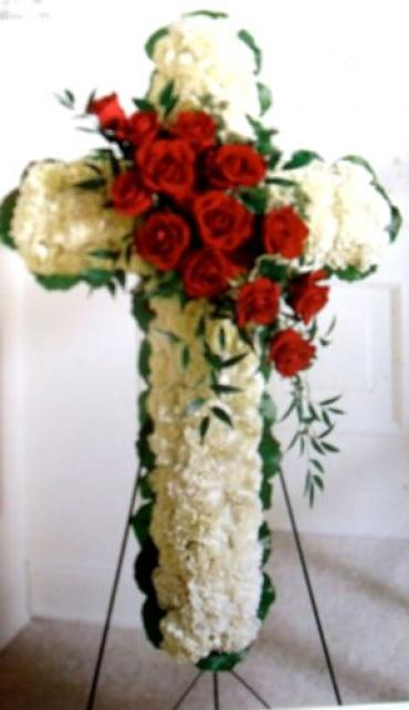Floral Cross Easel with Rose Spray
