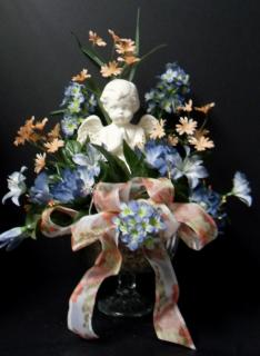 AF Peach and Blue Cherub Arrangement
