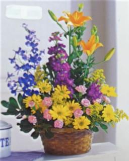 Colorful Basket Bouquet
