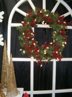 Lighted Permanent Wreath with Berries