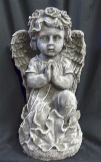 Weathered Cement Praying Angel