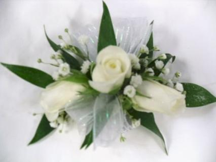 Arnold Florist All White Wrist Corsage