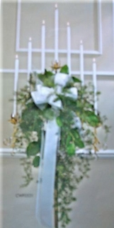 Seven Branch Candelabra with Fresh Greenery