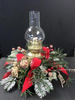 Antique Gold Hurricane Lamp Bouquet
