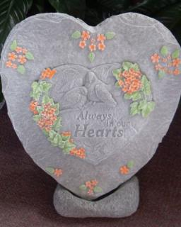 "Weathered Cement Stone ""Always in our Hearts\"" (Coral)"