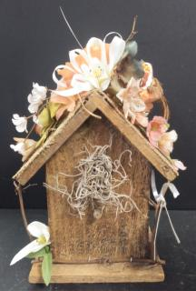 AF Wooden Birdhouse With Bird On Top