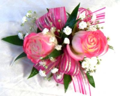 AF Double Sweetheart Wrist Corsage Tipped