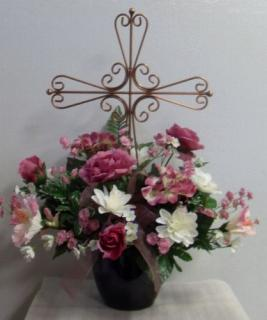 Memorial Cross with Mauve Silks