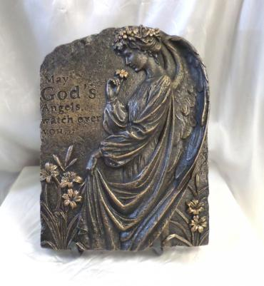 God\'s Angel Cement Stone with Bronze Finish