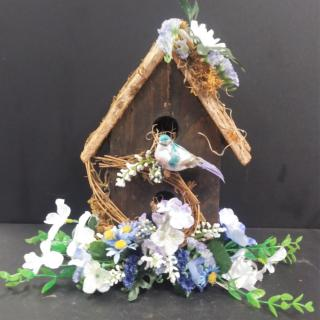 AF Wooden Birdhouse With Whites And Blues