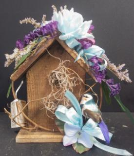 AF Wooden Birdhouse in Baby Blue and Purple